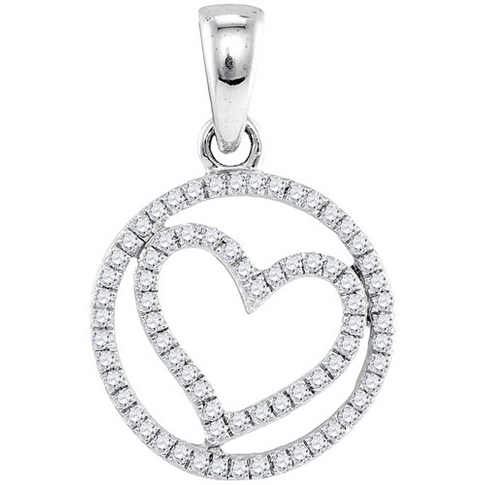 10k White Gold Round Diamond Womens Circle Heart Anniversary Pendant 1/4