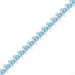 Sterling Silver Womens Round Lab-Created Blue Topaz Tennis Bracelet 6-1/2 Cttw