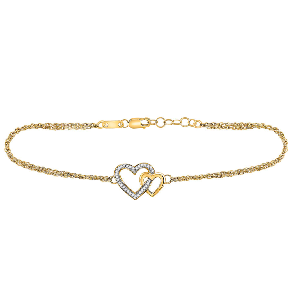 10kt Yellow Gold Womens Round Diamond Double Heart Bracelet 1/10 Cttw