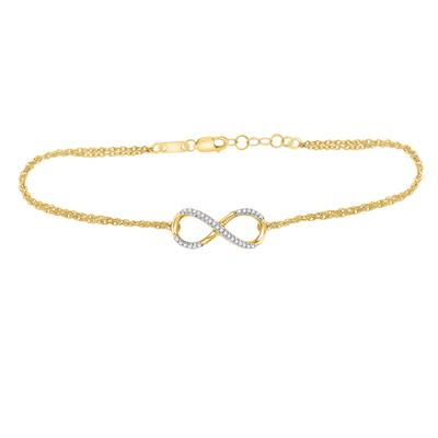 10kt Yellow Gold Womens Round Diamond Infinity Bracelet 1/10 Cttw
