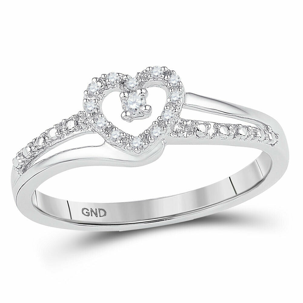 10k White Gold Womens Round Diamond Heart Promise Ring 1/20 Cttw