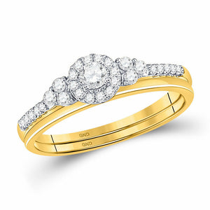 10k Yellow Gold Round Diamond Slender Bridal Wedding Engagement Ring Band Set 1/3 Cttw