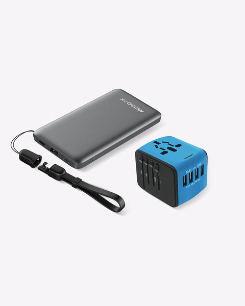 Convenient kit contains a power bank and an adapter