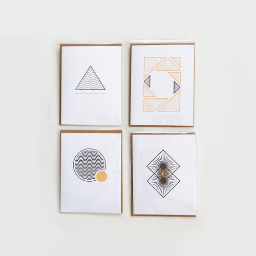 Moonpence x Often Minimal - Geometric Stationary | Greeting Cards x 4 - Moonpence
