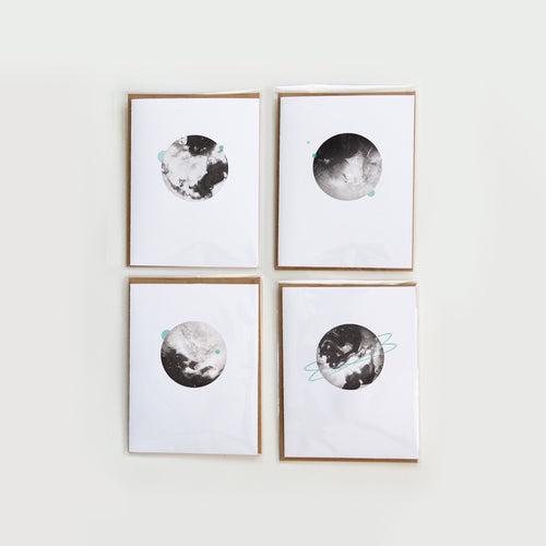Moonpence x Often Minimal - Planet Stationary | Greeting Cards x 4 - Moonpence