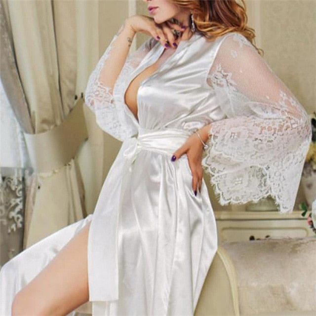 Sexy Large Size Sexy Satin Night Robe Lace Bathrobe Perfect Wedding Bride Bridesmaid Robes Dressing Gown For Women Nightwear