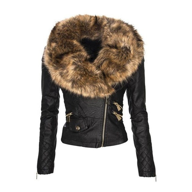 faux fur leather Jacket Women Winter Autumn Motorcycle Jacket Black Outerwear faux leather PU Jacket