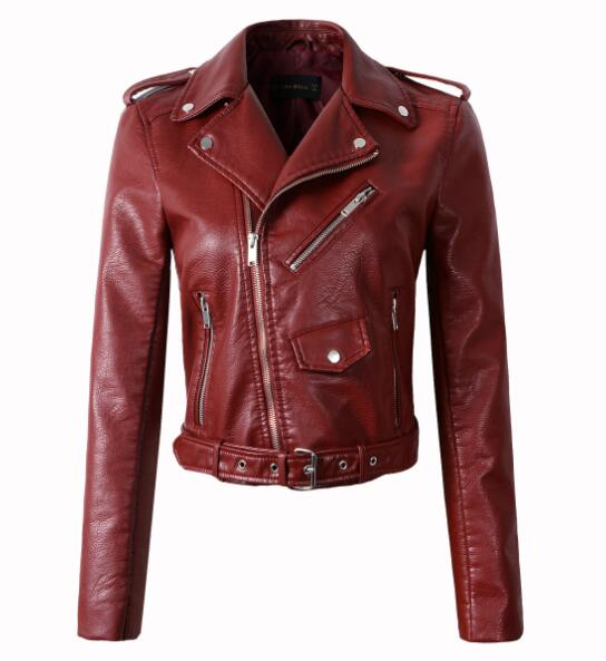 White, black. Red, brown ,pink, blue Faux Pu leather jacket women