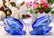 Load image into Gallery viewer, 2Pcs Crystal Swans Ornaments Glass Figurines Paperweight Crafts Home Decoration Wedding Valentine's Day Gifts Souvenir