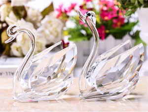 2Pcs Crystal Swans Ornaments Glass Figurines Paperweight Crafts Home Decoration Wedding Valentine's Day Gifts Souvenir
