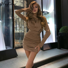 Load image into Gallery viewer, Long sleeve Crunched sexy mini dress
