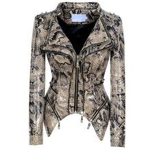 Load image into Gallery viewer, Women's PU Leather Slim  Faux Leather jackets zipper stitching short cowboy coat Snake pattern jacket women's  XS - 4XL
