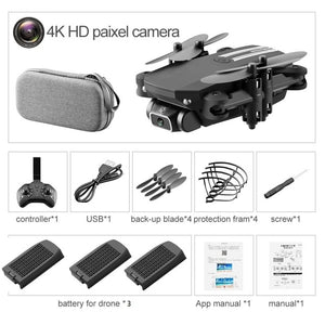 Mini Drone 4K 1080P HD Camera WiFi Fpv Air Pressure Altitude Hold Black And Gray Foldable Quadcopter RC Drone Toy