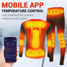 Load image into Gallery viewer, Winter Heated Underwear Suit Smart Phone APP Control Temperature USB Battery Powered  Fleece Thermal Motorcycle Jacket Moto Men
