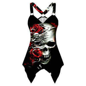 V-neck Sleeveless Graphic Skeleton Rose T Shirts for Women Summer Plus Size 5XL Goth  Tank Tshirts Clothes