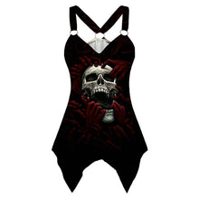 Load image into Gallery viewer, V-neck Sleeveless Graphic Skeleton Rose T Shirts for Women Summer Plus Size 5XL Goth  Tank Tshirts Clothes