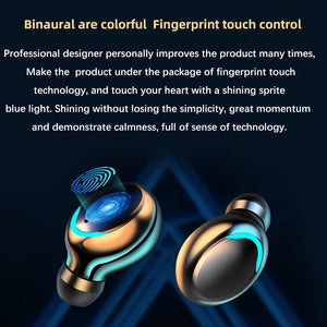 F9-V5.0 Bluetooth 5.0 Earphones TWS Fingerprint Touch Headset WiFI Stereo In-ear Earbuds Wireless Headphones for Smart Phone and Androids