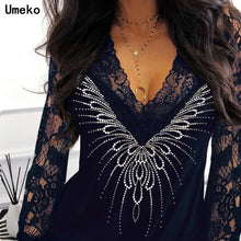Load image into Gallery viewer, Diamond Sexy  lace  Women T-shirt  Long Sleeve V-neck Tops Tee Shirt