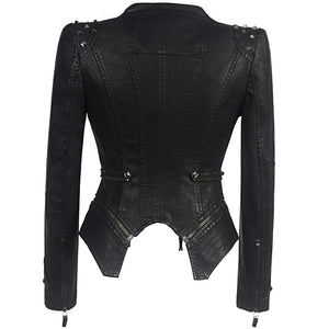 Women Smooth Motorcycle Faux Leather Jackets