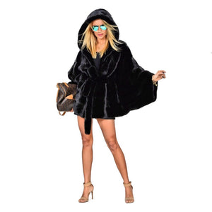 Mink Fur Coat With Big Hood And Belt