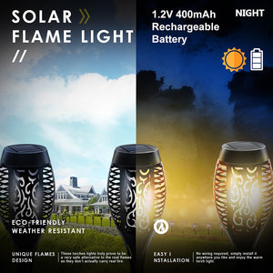 12 , 8, 6, 4, 2, 1 Pcs Sets  LED Solar Flame Torch Light Flickering Waterproof Garden Lamp Decor Landscape Lawn Lamp Path Lighting Torch Outdoor Lights