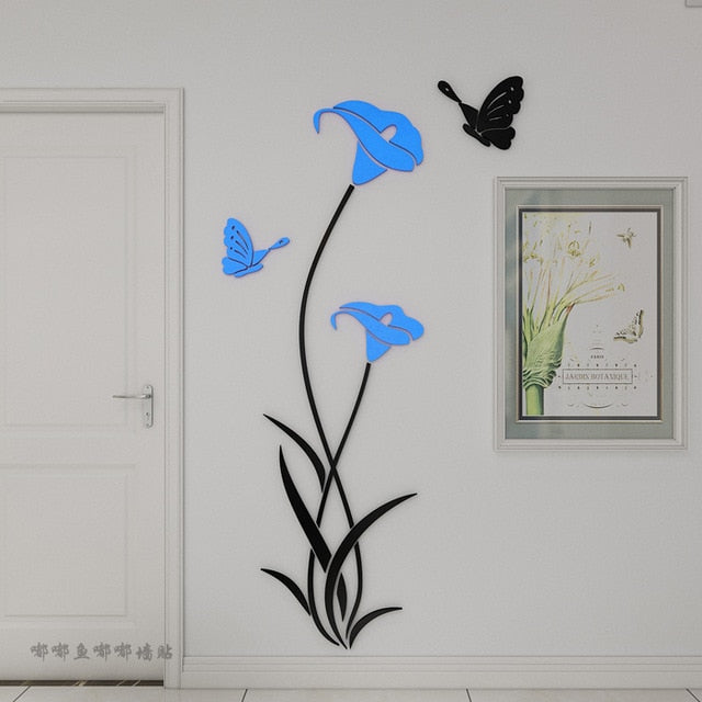 Butterfly Floral Stickers For Wall Modern Stickers Decoration 3D DIY Flower Shape Acrylic Wall Decal Living Room Decor Wallpaper