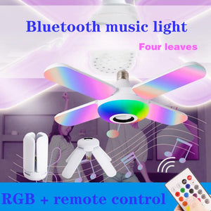 LED Ceiling Lights RGB Bluetooth Music Ceiling Lamp LED 50W 4Leaves Deformed Bulb Lamp +Remote Control Smart Ceiling Lamp