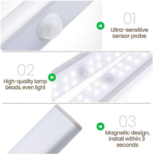 6 10 24 40 60 LEDs Under Cabinet Night Light Motion Sensor Closet Light Kitchen Bedroom Lighting Wall Lamp With Magnetic Strip
