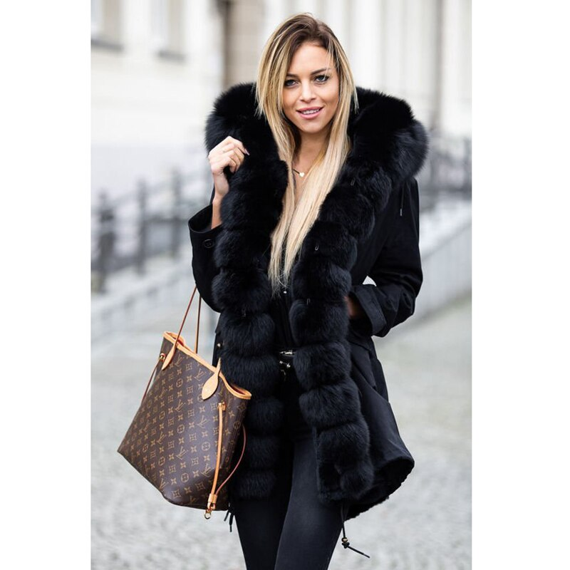 Real Fur Parka With Real Fox Fur Collar With rabbit fur liner