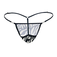 Load image into Gallery viewer, Men's Exquisite G-string Black-White Cotton-Spandex Back