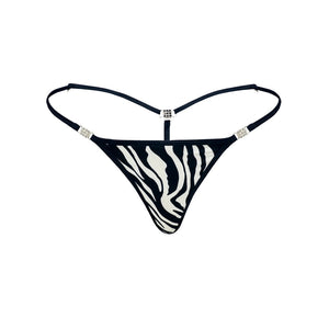 Women's Elite G-string Black-White Cotton-Spandex Front