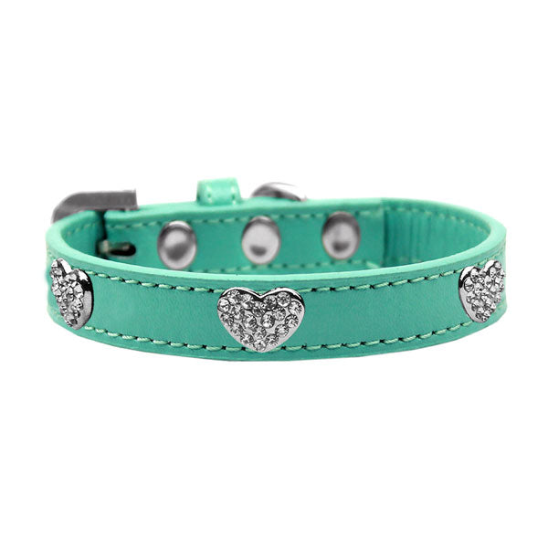 Dog collar with glistening crystal hearts on durable premium collars in the color aqua