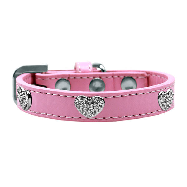 Dog collar with glistening crystal hearts on durable premium collars in the color light pink