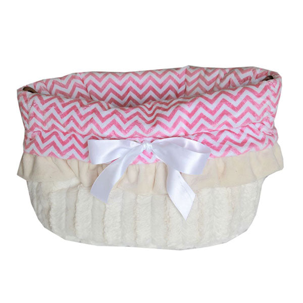 This is a pet bed, dog bed, carrier bag and Car Seat All-in-One in the color pink chevron
