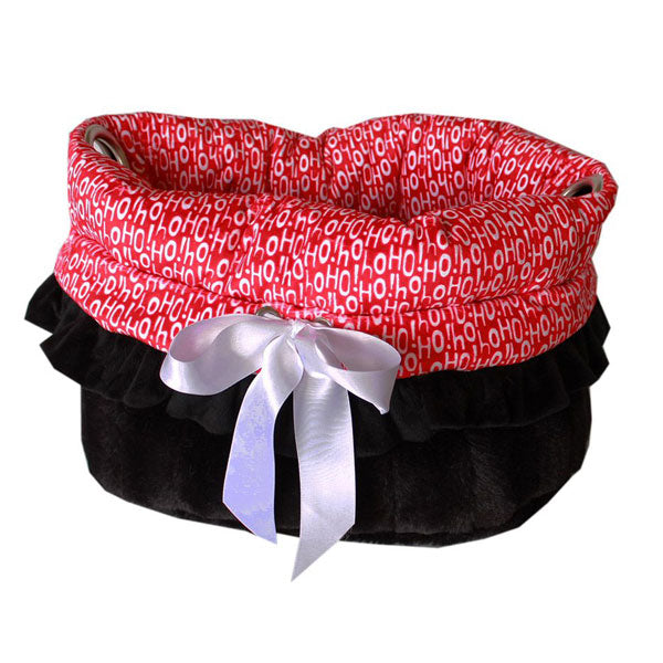 This is a pet bed, dog bed, carrier bag and Car Seat All-in-One in the color red and the words santa says ho ho ho