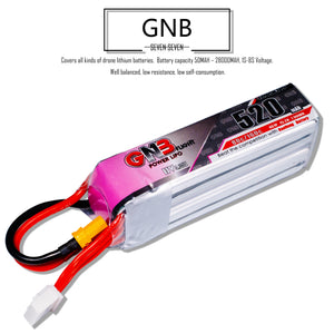 2 Pack - GNB 520mAh 4s 15.2v 80c Lipo Battery with XT30 FPV Plug for RC Racing Drone