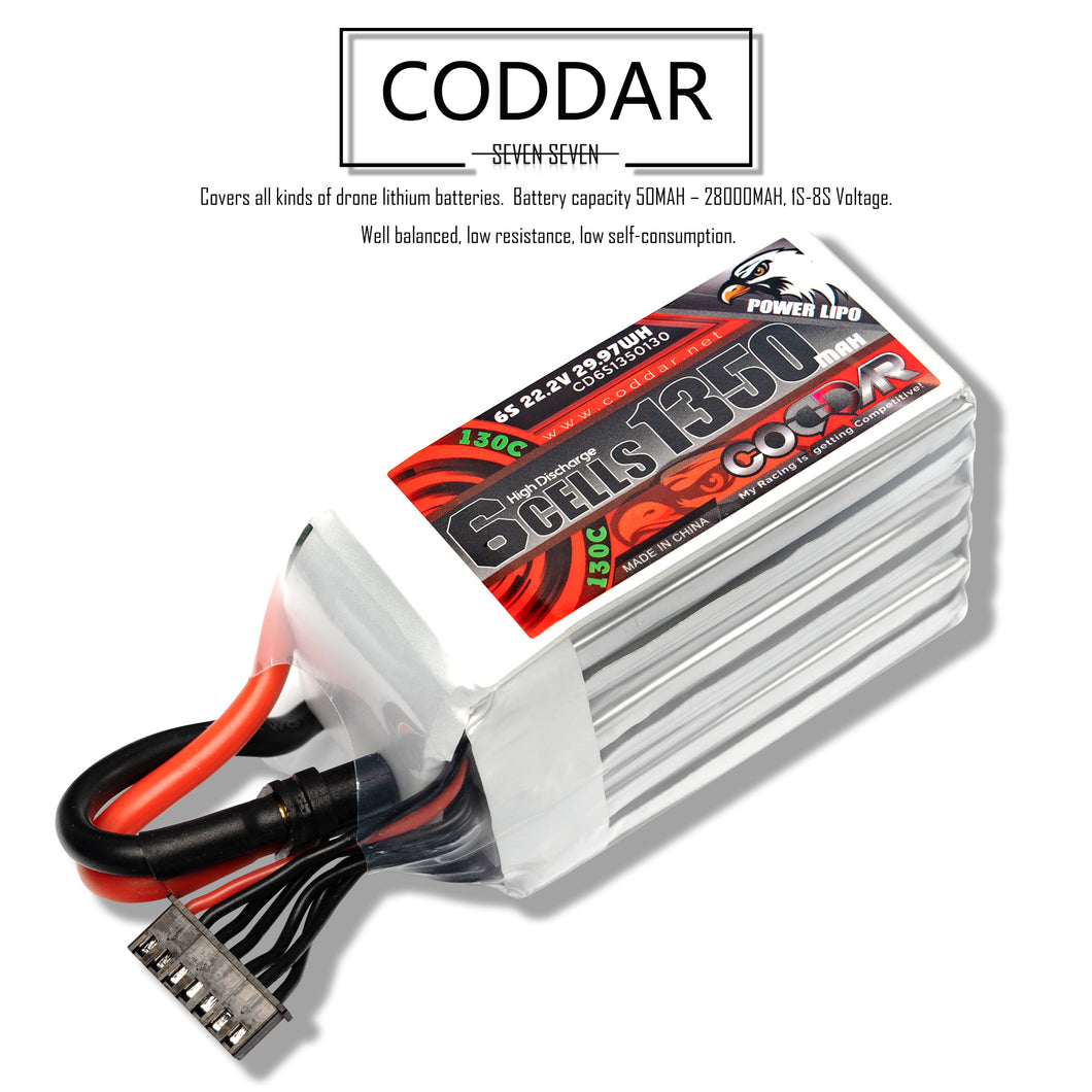 Coddar 1350mAh 6s 22.2v 130c Lipo Battery with XT60  FPV plug for RC Racing Drone
