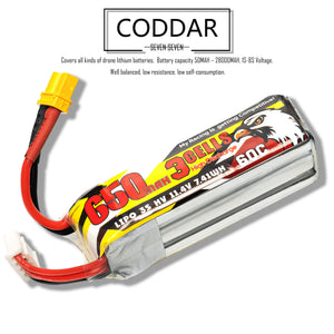 2 Pack - Coddar 650mAh 3s 11.4v 60c Lipo Battery with XT30  FPV plug for RC Racing Drone