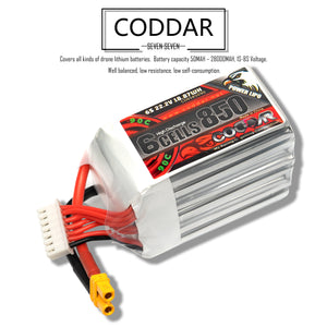 2 Pack - Coddar 850mAh 6s 22.2v 90c Lipo Battery with XT30 FPV plug for RC Racing Drone