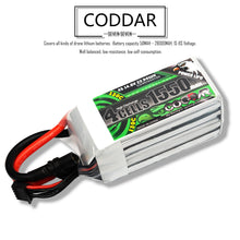 Load image into Gallery viewer, Coddar 1550mAh 4s 14.8v 130c Lipo Battery with XT60  FPV plug for RC Racing Drone