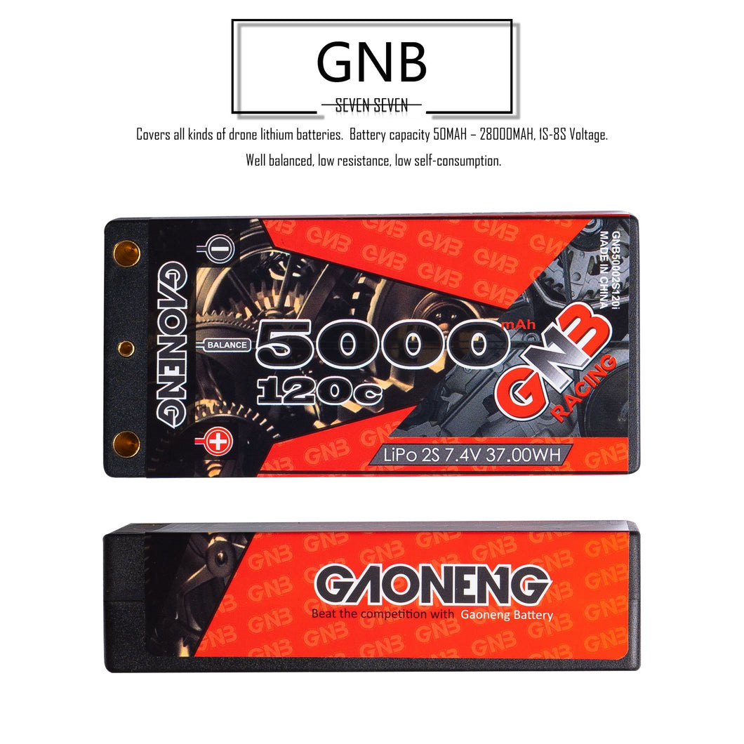 2 Pack - GNB 5000mAh 2s 7.4v 120c Lipo Battery with T plug for RC Racing Car and Boat