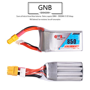 GNB 850mAh 4s 14.8v 120c Lipo Battery with XT60  FPV plug for RC Racing Drone