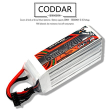 Load image into Gallery viewer, Coddar 2200mAh 6s 22.2v 120c Lipo Battery with XT60 FPV plug for RC Racing Drone