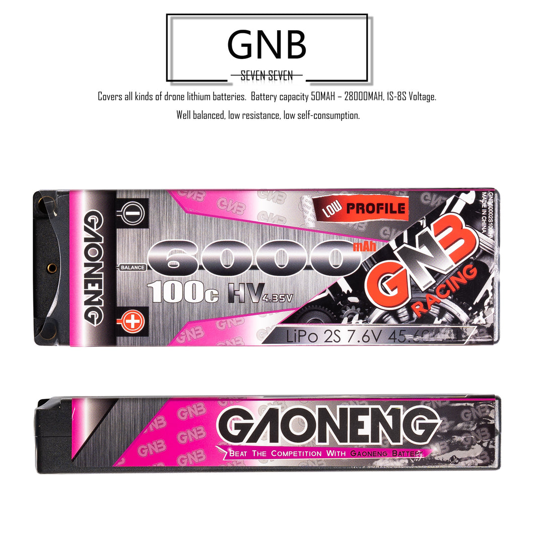 GNB 6000mAh 2s 7.6v 100c Lipo Battery with T plug for RC Racing Car and Boat - 2 Pack