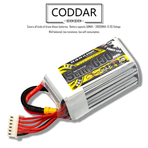 Coddar 650mAh 5s 18.5v 90c Lipo Battery with XT30  FPV plug for RC Racing Drone