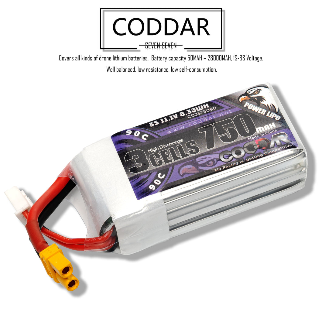 Coddar 750mAh 3s 11.1v 90c Lipo Battery with XT30  FPV plug for RC Racing Drone