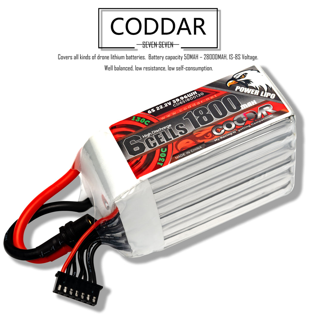 Coddar 1800mAh 6s 22.2v 130c Lipo Battery with XT60 FPV plug for RC Racing Drone