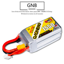 Load image into Gallery viewer, GNB 1550mAh 4s 14.8v 100c Lipo Battery with XT60 FPV plug for RC Racing Drone - 2 Pack