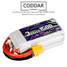 Load image into Gallery viewer, 2 pack - Coddar 1500mAh 3s 11.1v 110c Lipo Battery with XT60 FPV plug for RC Racing Drone