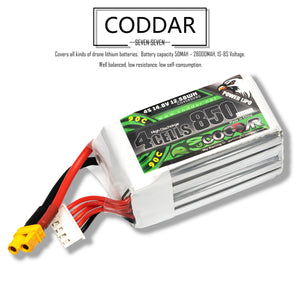 Coddar 850mAh 4s 14.8v 90c Lipo Battery with XT30 FPV plug for RC Racing Drone - 2 Pack